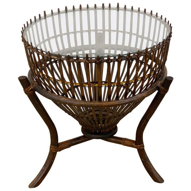 Mid 20th Century Franco Albini Style Fish Trap Rattan and Glass Side Table, Restored For Sale - Image 5 of 5