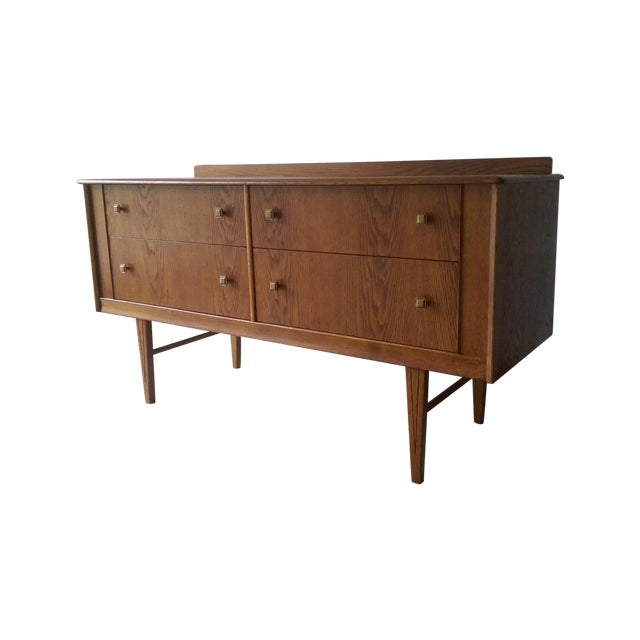 Oak Credenza with Custom Square Pulls - Image 1 of 10