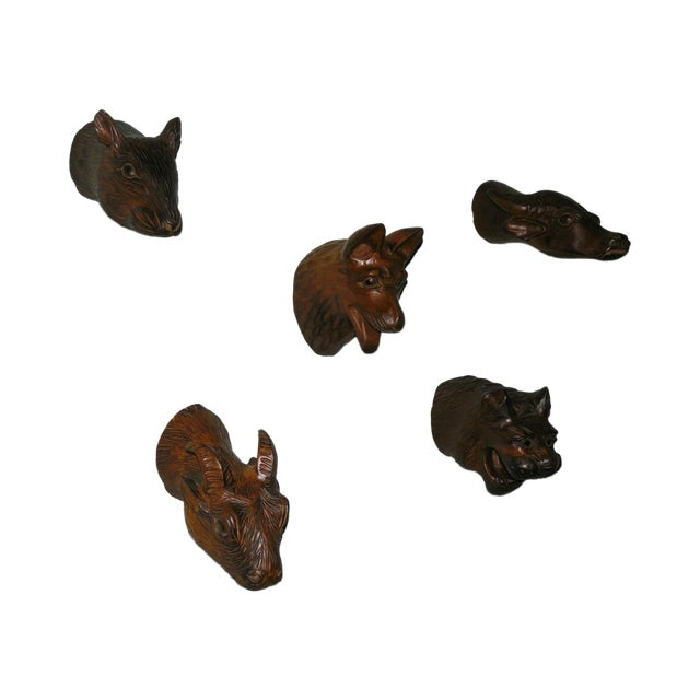 Carved Wood Chinese Zodiac Mounts - Image 1 of 9