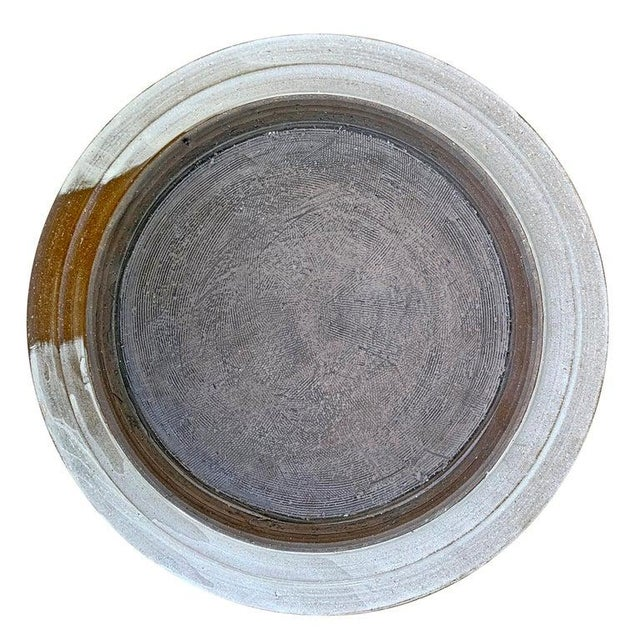 Modern Set of Eight Hand-Thrown Stoneware Dinner Plates For Sale - Image 3 of 13