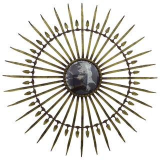 Italian Gilt Metal Starburst Mirror For Sale