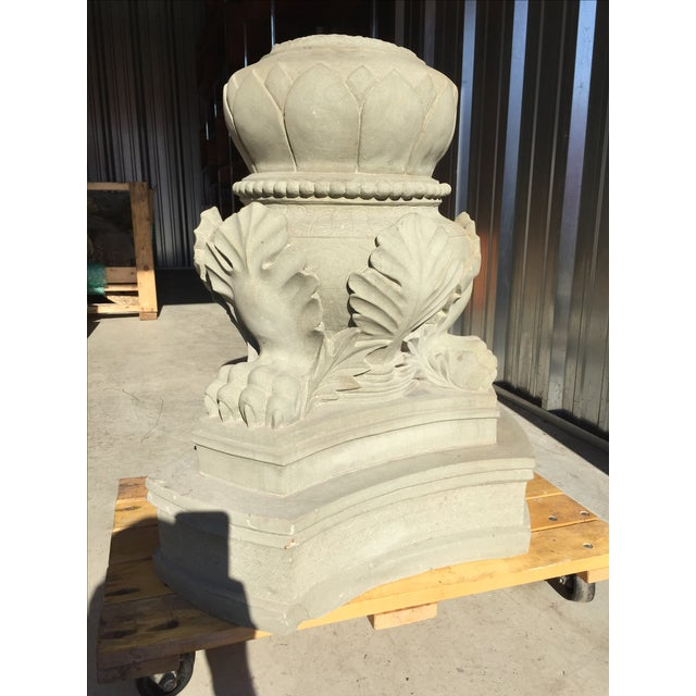 Carved Stone Claw Foot Pillar Base - Image 7 of 9