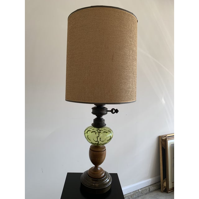 Metal Vintage Hepplewhite Carved Wood Urn, Cast Metal, and Green Depression Glass Lamp With Burlap Shade For Sale - Image 7 of 7