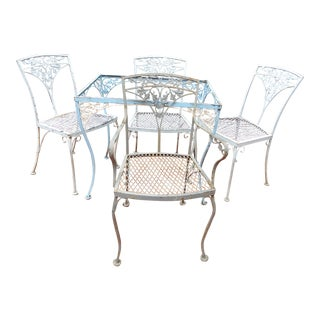 Woodard Orleans Wrought Iron Dining Set- 5 Pieces For Sale