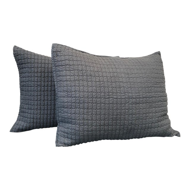 Catalina Steel Blue Standard Shams - A Pair For Sale