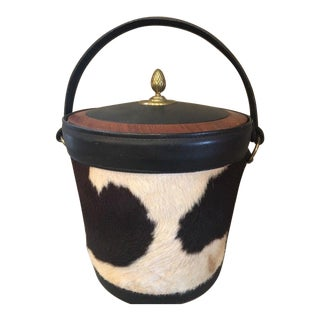 Mid Century Modern Bosca Leather Company Leather and Cowhide Ice Bucket For Sale