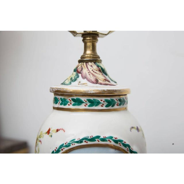 19th Century Pair of Italian Porcelain Capodimonte Vases as Table Lamps For Sale - Image 4 of 8