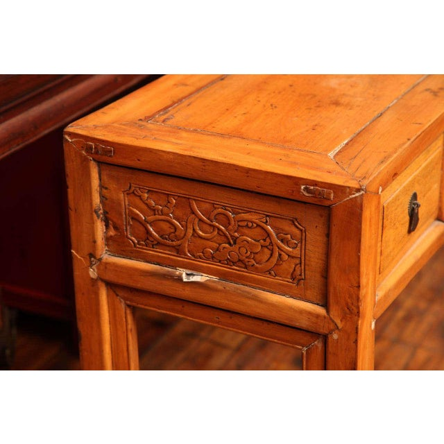 Asian Chinese, 19th Century, Natural Elm Antique Console Table with Carved Decor For Sale - Image 3 of 11