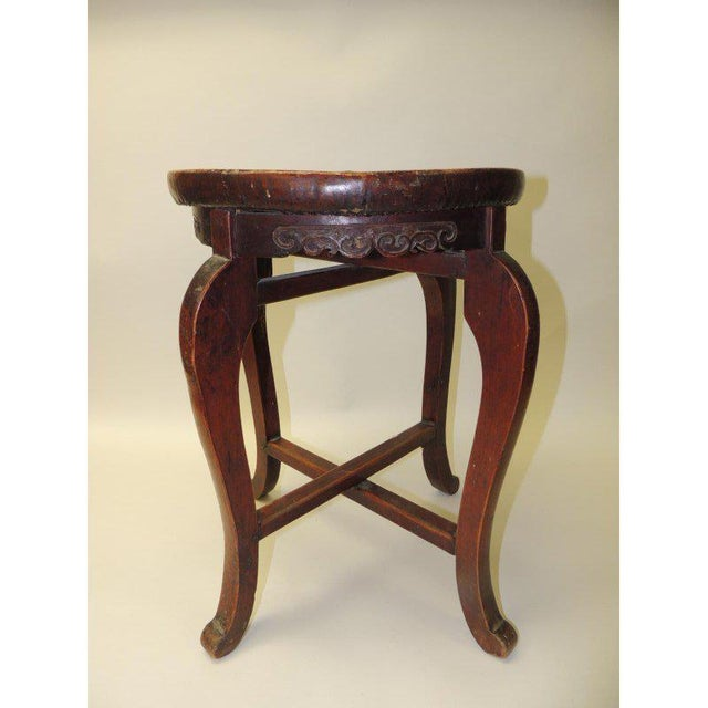 Round Asian Side Table With Carved Apron and Turned Wood Legs For Sale In Miami - Image 6 of 8