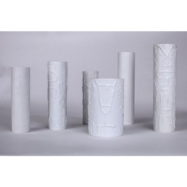 1962 Vintage Cuno Fischer for Rosenthal German White Porcelain Vases With Abstract Relief - Set of 6 For Sale In New York - Image 6 of 6