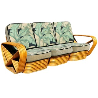 Restored Paul Frankl Style Six Strand Square Pretzel Sofa For Sale