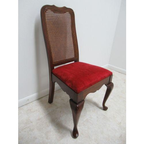Vintage Thomasville Solid Cherry Queen Anne Caned Side Chair For Sale - Image 11 of 11