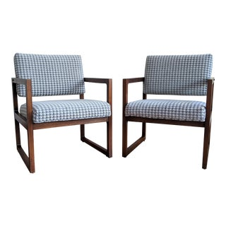 Restored Cube Lounge Chairs - a Pair For Sale