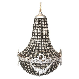 Hollywood Regency Black & Crystal Chandelier For Sale