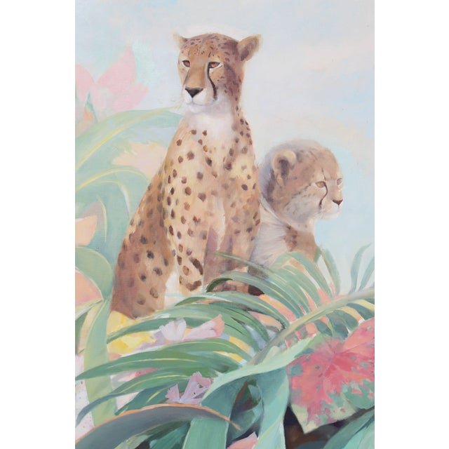 Canvas Art Deco Style Monumental Massive Art Painting of Tropical Cheetah For Sale - Image 7 of 9