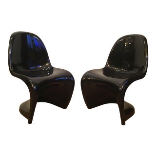 Herman Miller Panton Gloss Black Chairs - a Pair For Sale