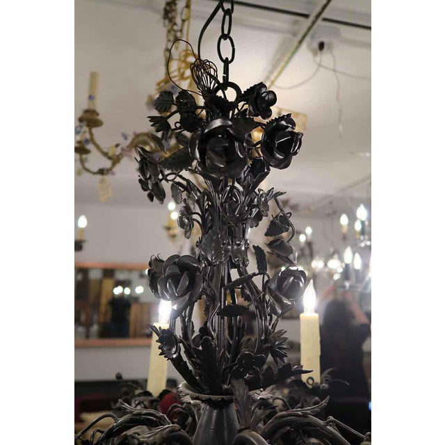 Black Rose Wrought Iron Floral Chandelier For Sale - Image 4 of 7