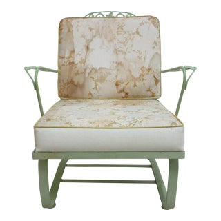 1970s Vintage Woodard Metal Patio Outdoor Spring Lounge Arm Chair For Sale