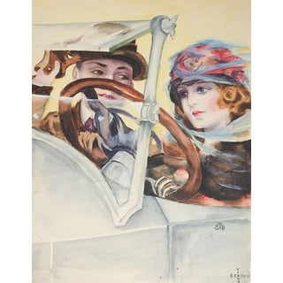 1920's Watercolor Painting Couple Driving Car For Sale