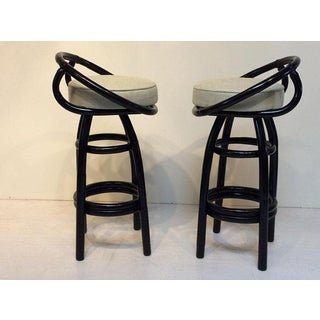 Beverly Hills Rattan Black Lacquered Bar Stools - A Pair Preview