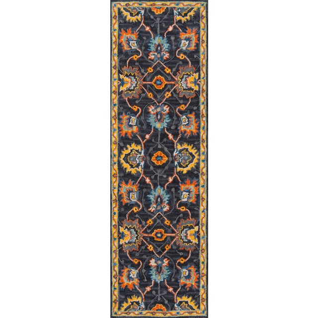 """Textile Ibiza Charcoal Hand Tufted Area Rug 2'3"""" X 7'10"""" Runner For Sale - Image 7 of 7"""