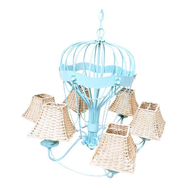 Rare Italian Reggiani Lampadari Pale Blue High Gloss 6 Light Hot Air Balloon Chandelier Light Fixture For Sale