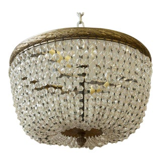 Small Crystal or Glass Beaded Ceiling Fixture For Sale