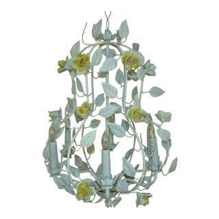 White Italian Tole Bird Cage Chandelier With Yellow Roses Flowers For Sale