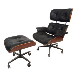 Eames Style Lounge Chair and Ottoman For Sale