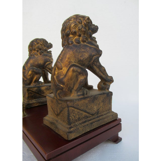 C.1970s-80s Vintage Asian, Chinoiserie-Style, Boho Chic Gilt Foo Dog Lamp For Sale - Image 10 of 13