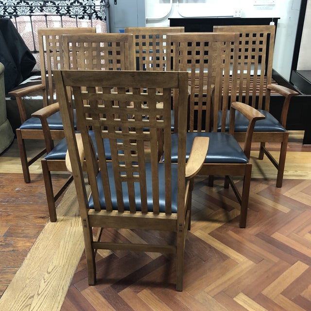 Stickley Furniture Metropolitan Collection Lattice Back + Leather Armchairs- Set of Six For Sale - Image 11 of 13