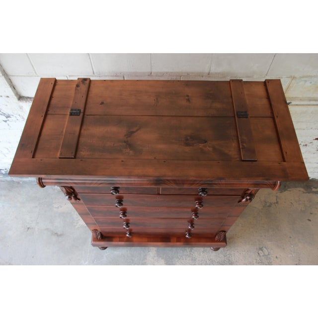 Immaculate American Empire Flame Mahogany Highboy Chest of Drawers, Dated 1886 For Sale - Image 9 of 13