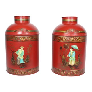Mid 20th Century Vintage English Chinoiserie Red & Gold Lacquered Tole Tea Jars - a Pair For Sale