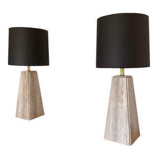 Robsjohn-Gibbings Travertine Lamps - a Pair For Sale