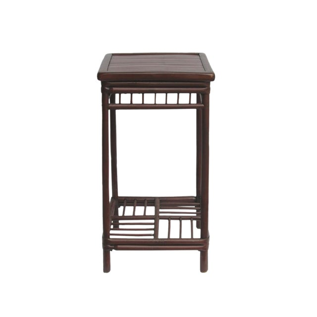 Chinese Handmade Vintage Bamboo Square Side Table Plant Stand - Image 1 of 5