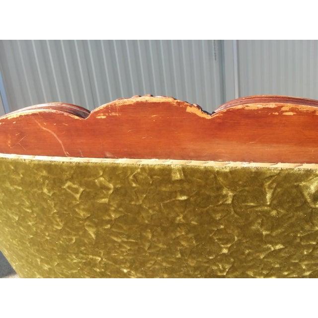 Antique Victorian Velvet Sofa Settee Green For Sale - Image 12 of 13