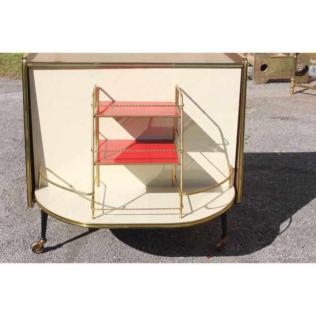 1940s 1940s Vintage Macassar French Art Deco Swivel Bar Cabinet For Sale - Image 5 of 13