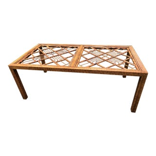 Vintage Brighton Burnt Bamboo Rattan Chinese Chippendale Dining Table For Sale