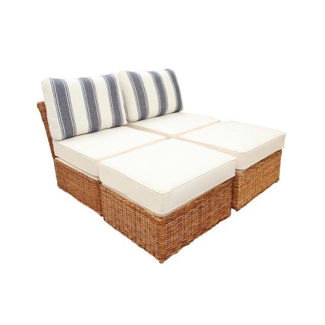 Boho Chic Custom Boho Rattan Chair and Ottoman Set For Sale - Image 3 of 6