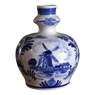 Delft Dutch Faience Floral Blue and White Knobble Bud Vase For Sale