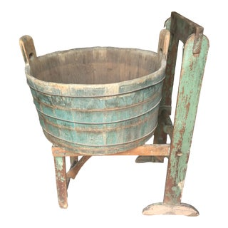 Distressed Country Washing Barrel Tub and Stand For Sale