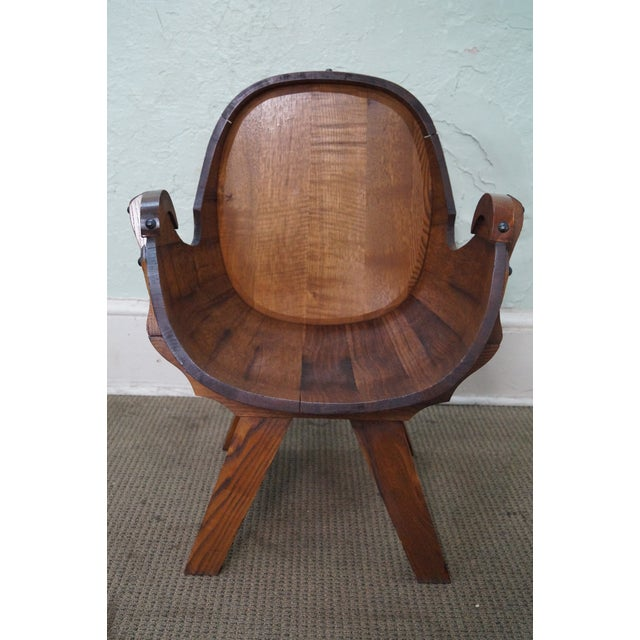 Vintage Oak Barrel Lounge Chairs - A Pair For Sale - Image 10 of 10