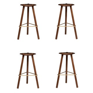 Customizable Erickson Aesthetics Set of Four Walnut Stools For Sale