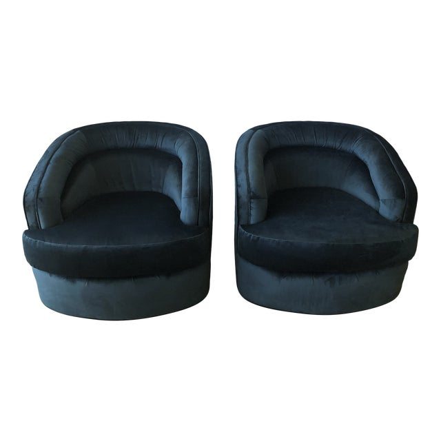 1970s Velvet Club Chairs - A Pair For Sale