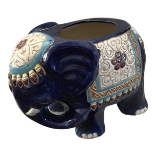 Vintage Colorful Ceramic Elephant Planter For Sale