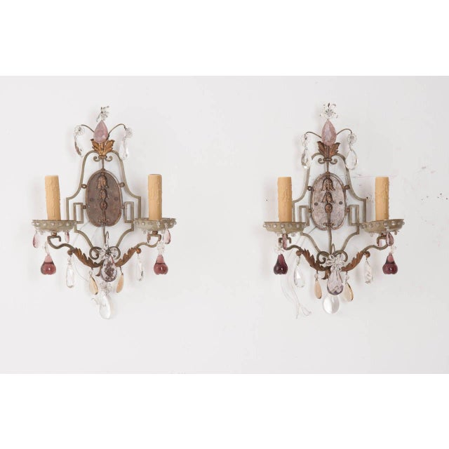 French Painted and Crystal Sconces - a Pair For Sale - Image 10 of 11