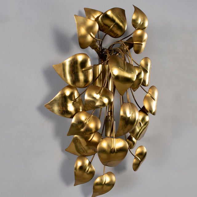 Metal Cascading Leaves Gilt Metal Light Fixture Attributed to Maison Jansen For Sale - Image 7 of 13