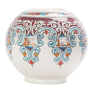 Moroccan Blue and Red Round Ceramic Vase For Sale