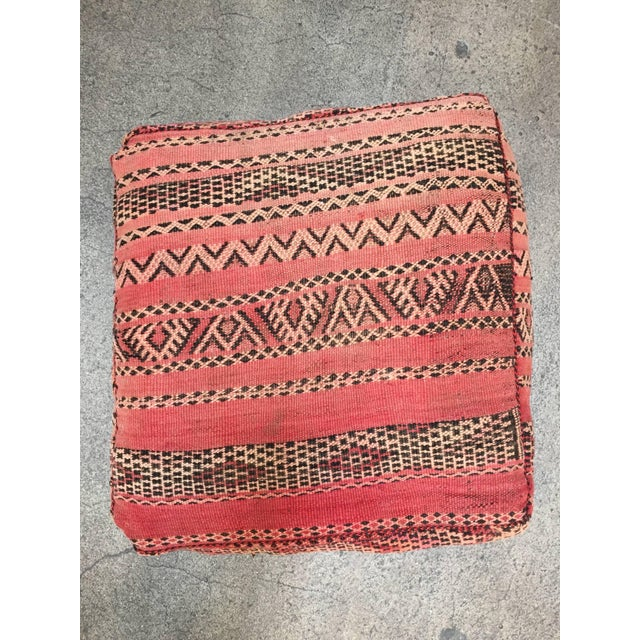 Moroccan Floor Pillow Tribal Seat Cushion Made From a Vintage Berber Rug For Sale - Image 4 of 13