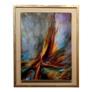 1967 Leonard Nierman Bird of Fire in the Wind Abstract Oil Painting For Sale
